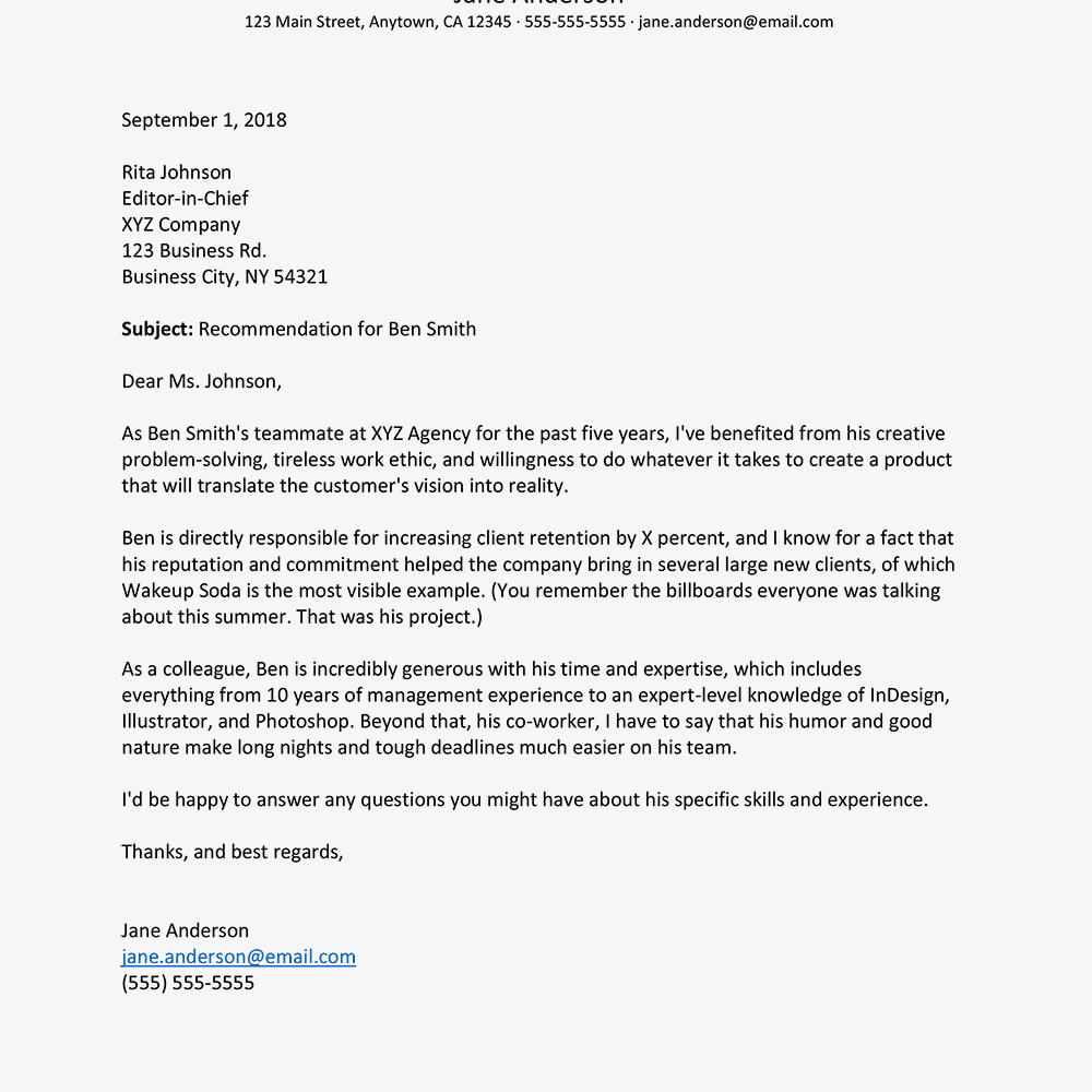 write letter recommendation citizenship