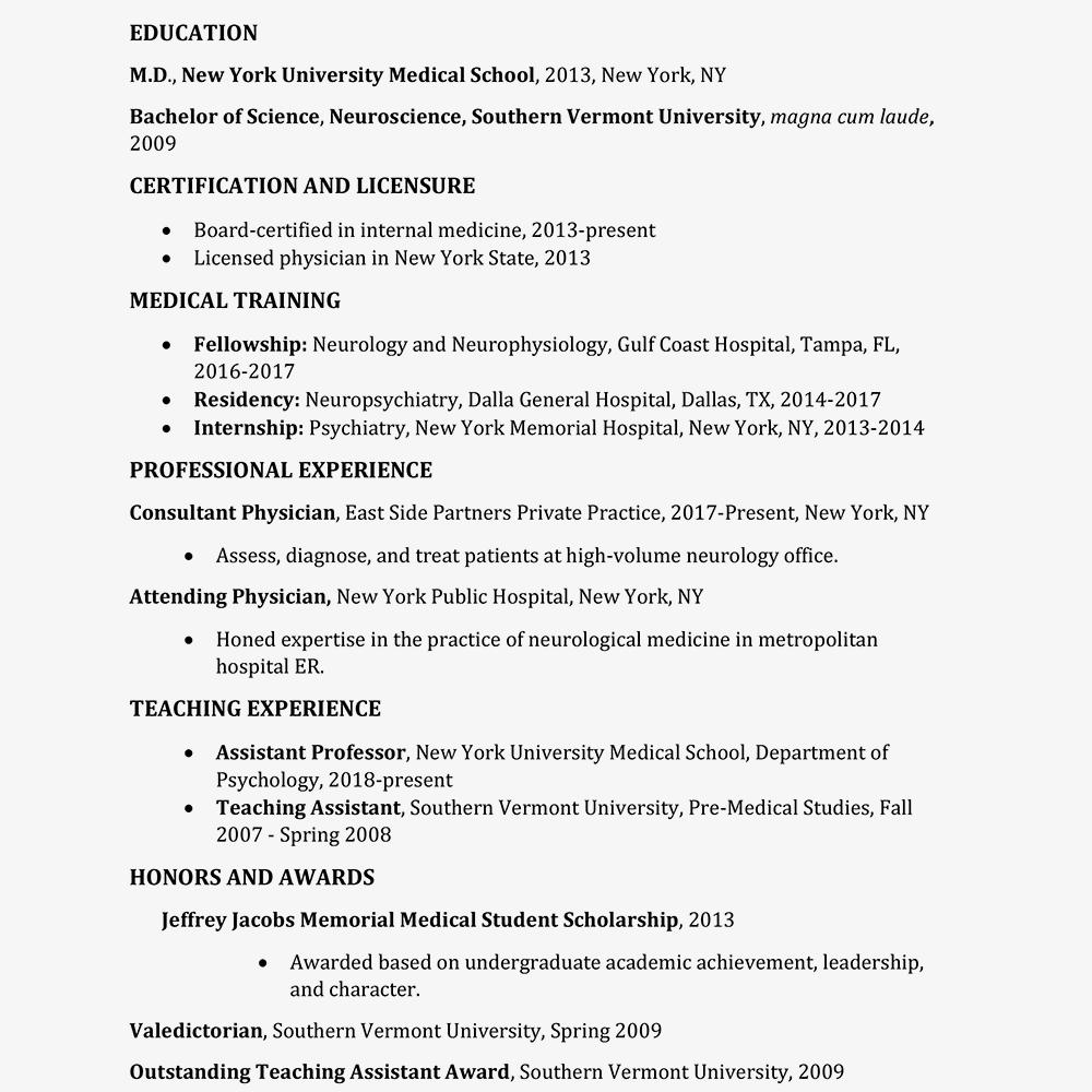 medical residency resume example