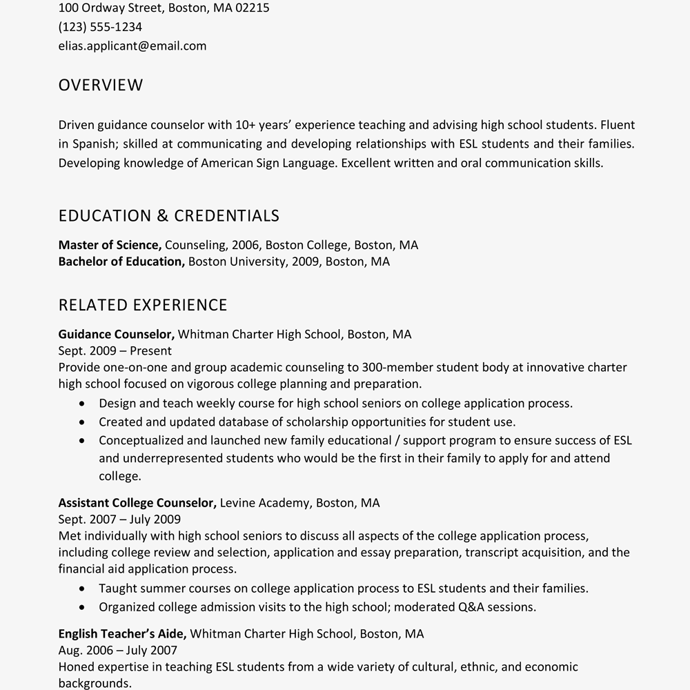 job resume profile examples
