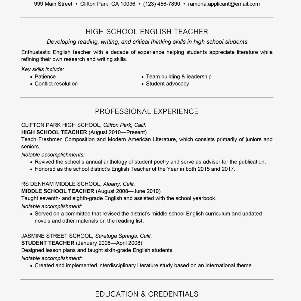 resume for teaching job with no experience doc