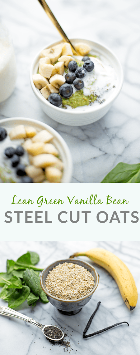This lean, green vanilla bean steel cut oatmeal is a healthy breakfast all-star! It is the perfect way to sneak some extra veggies in at breakfast.