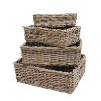 Rectangular Grey & Buff Rattan Storage Baskets
