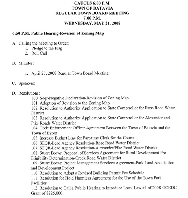Batavia Town Board Meeting agenda The Batavian - board meeting agenda
