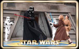 Our Padawan Snuggles fighting one-on-one against Darth Vader