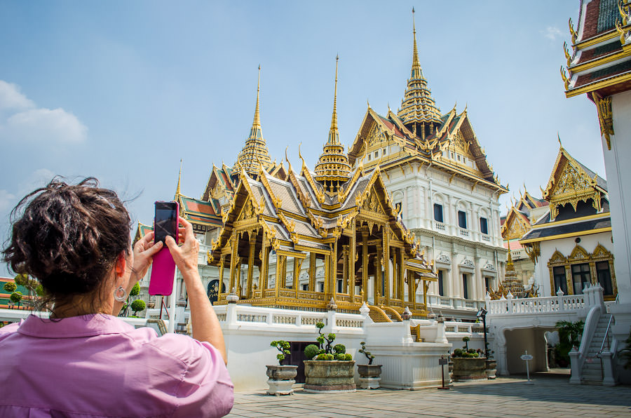 Mom taking a photo at the Grand Palace