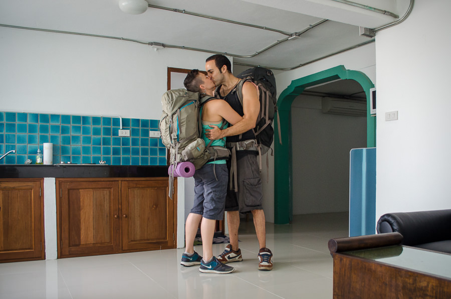 A final kiss in our apartment on Soi 14 in Chiang Mai, Thailand. We're moving on.