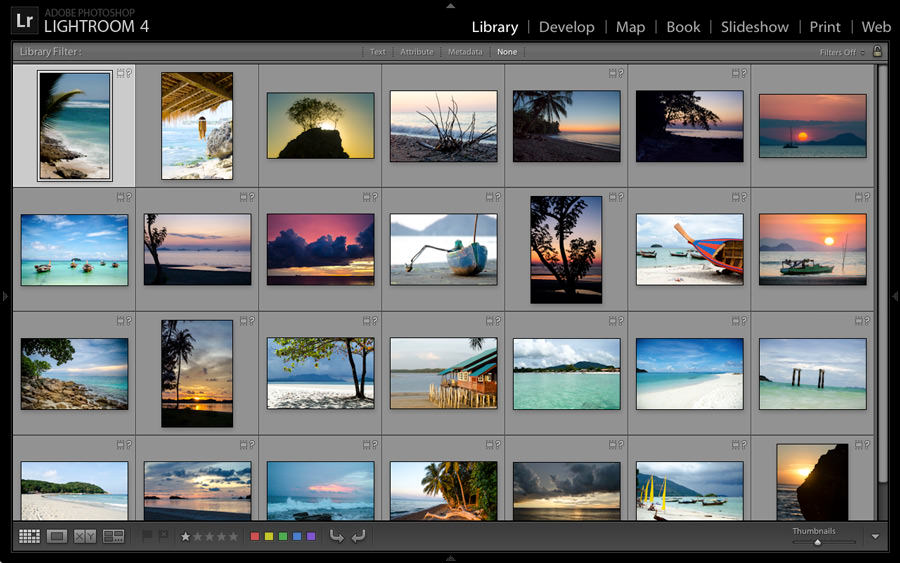 A computer screen filled with photos of beaches.