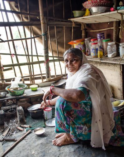 Raj's mom in the kitchen of their tent in Kathmandu, Nepal