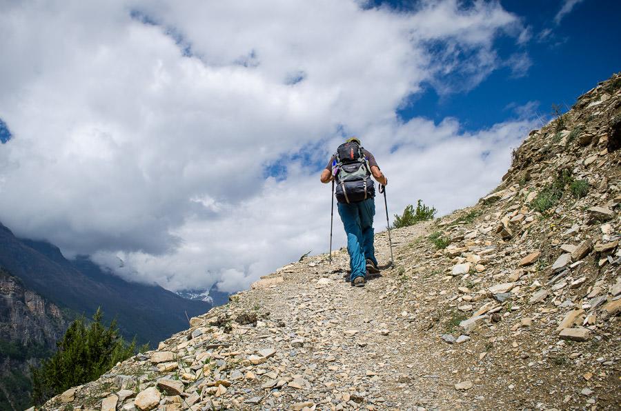 Adrian making the tough climb up the hill to Ghyaru, Nepal
