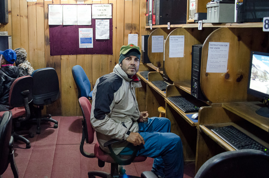 Adrian in the internet cafe in Chame on his birthday