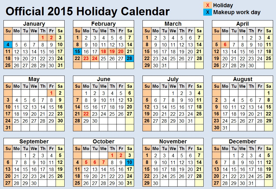 Official 2015 Holiday Schedule Released, Only One Heinous Six-Day