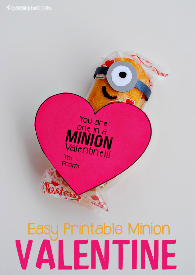 Easy Printable Minion Valentine at thebensonstreet.com copy