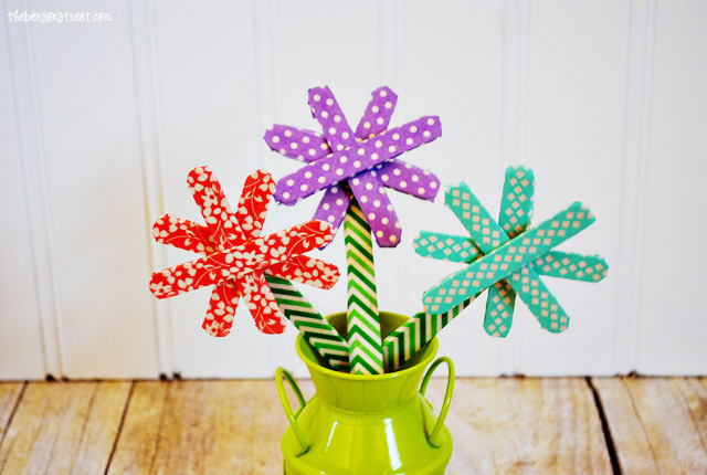Washi Tape Flowers at thebensonstreet.com