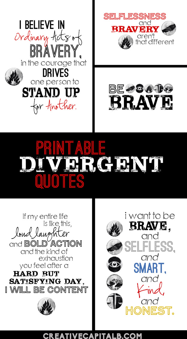 Printable Divergent Quotes collage