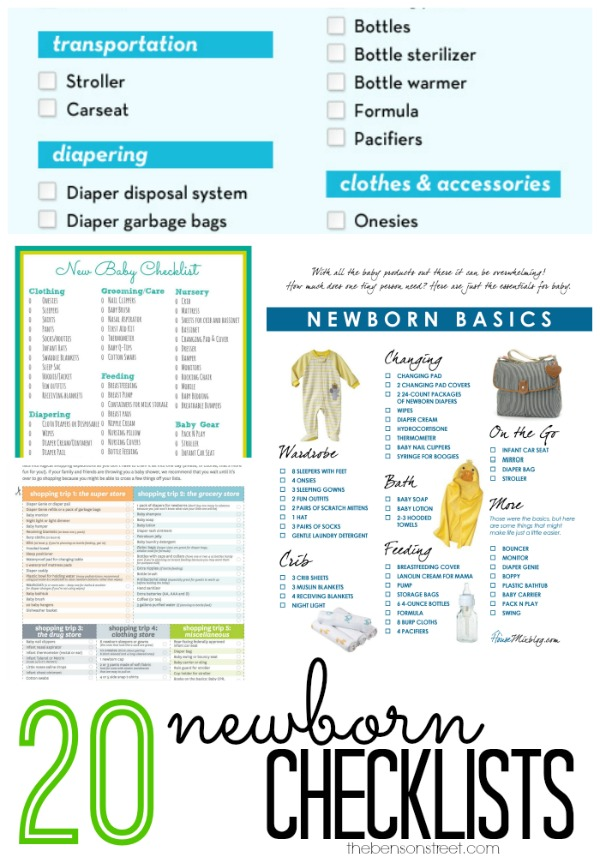 20 Newborn Checklists The Benson Street