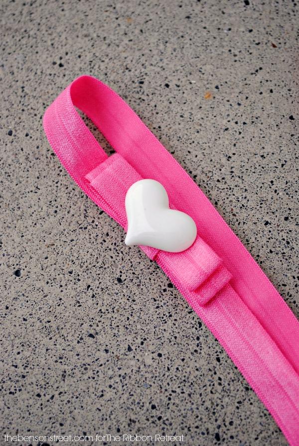 Heart Bow Elastic Headband Idea at thebensonstreet.com