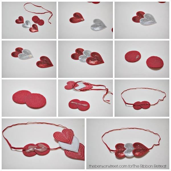 How to make a Heart headband for little girls at thebensonstreet.com