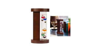 Galileo Thermometer with Wood Stand