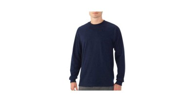 Fruit of the Loom Men's Long Sleeve Crew T Shirt with Rib Cuffs