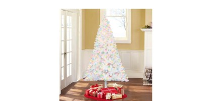 Holiday Time Pre-Lit 6.5′ Madison Pine White Artificial Christmas Tree – Multi-Lights