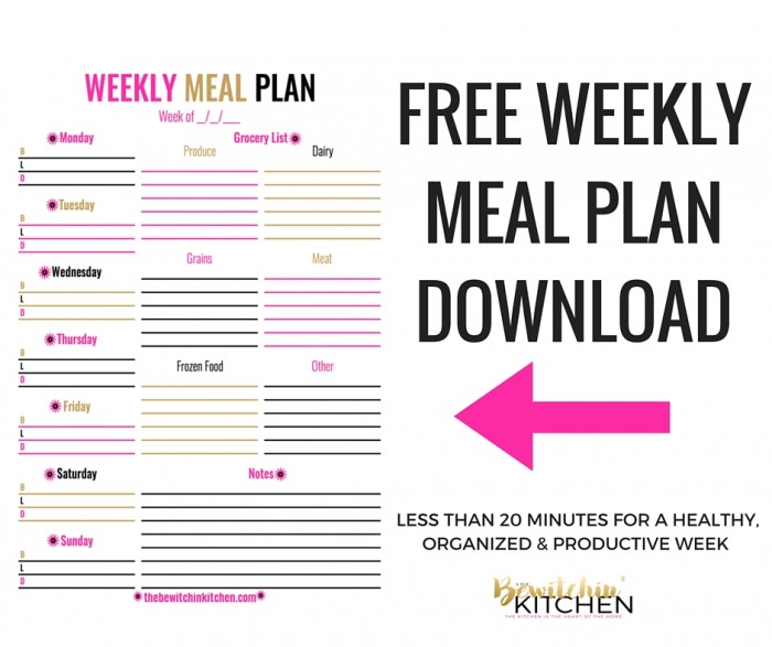 Weekly Meal Plan Download The Bewitchin\u0027 Kitchen
