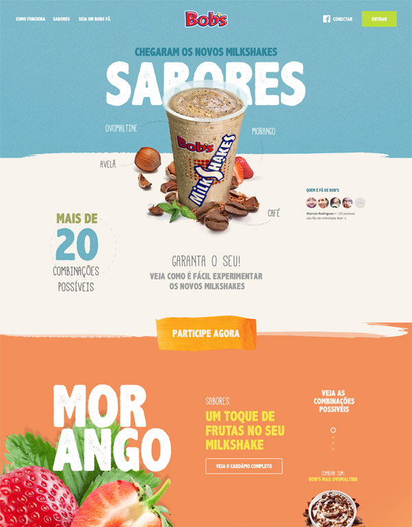 Fun Single-Page Web Site Design Bob\u0027s Milk Shakes - THE BIG AD