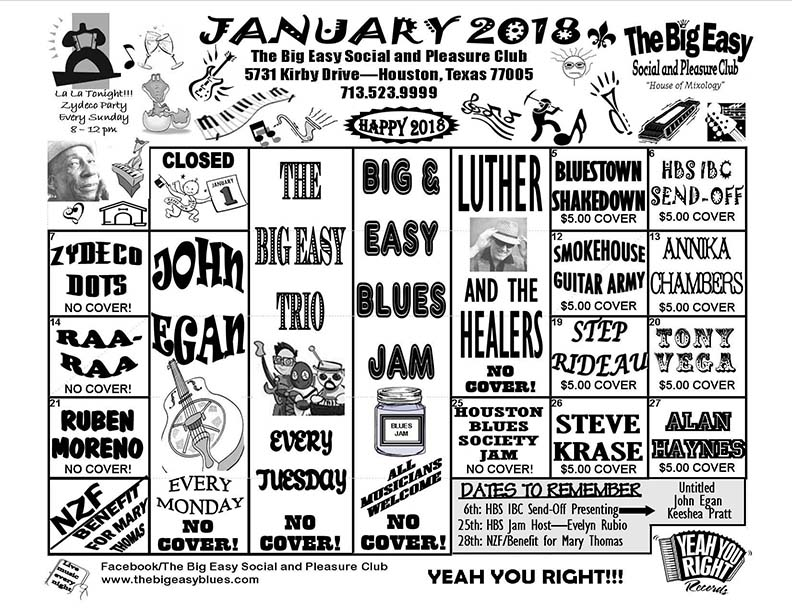 January 2018 Calendar - The Big Easy