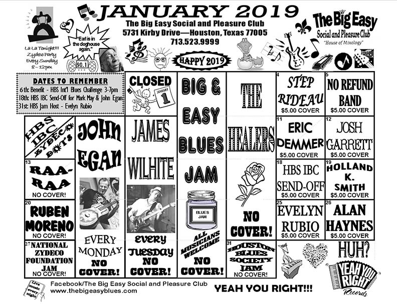 January 2019 Calendar - The Big Easy