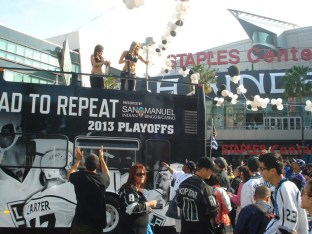 Celebrating the LA Kings winning the Stanley Cup
