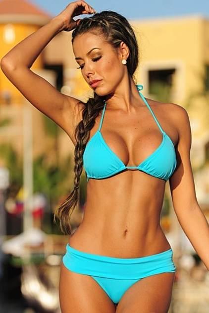 Sport Thong Bikini Front View Blue