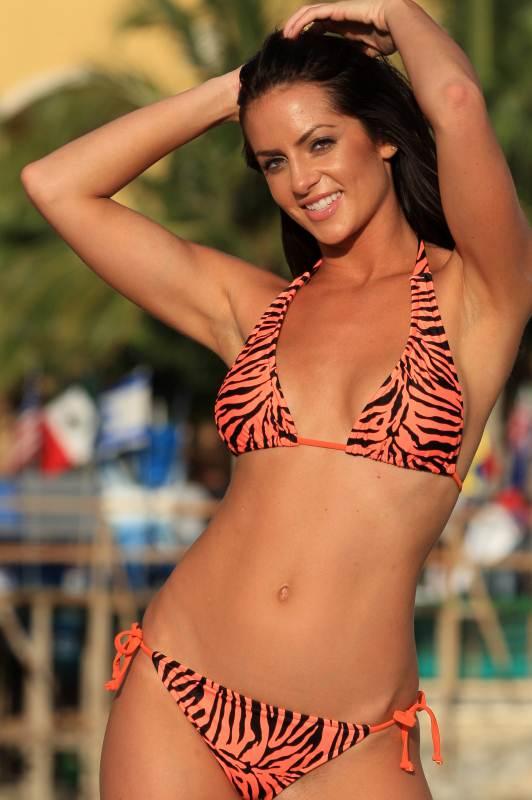 Bikinis For Women with Smaller Chests Orange Zebra String