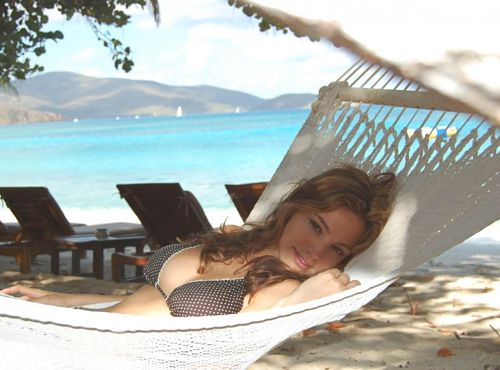 Kelly Brook Relaxing In her Hammock and Bikini
