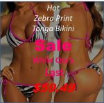 Zebra Print String Tonga Thong Bikini Sale