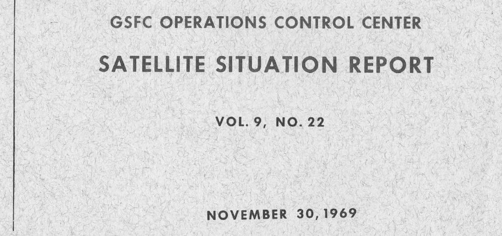 From the Desks of Project Blue Book NASA Satellite Situation Report
