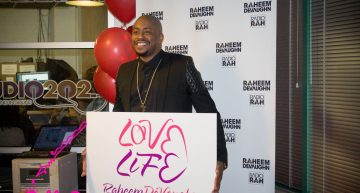 Raheem DeVaughn celebrating the launch of his community organization LoveLife Foundation.