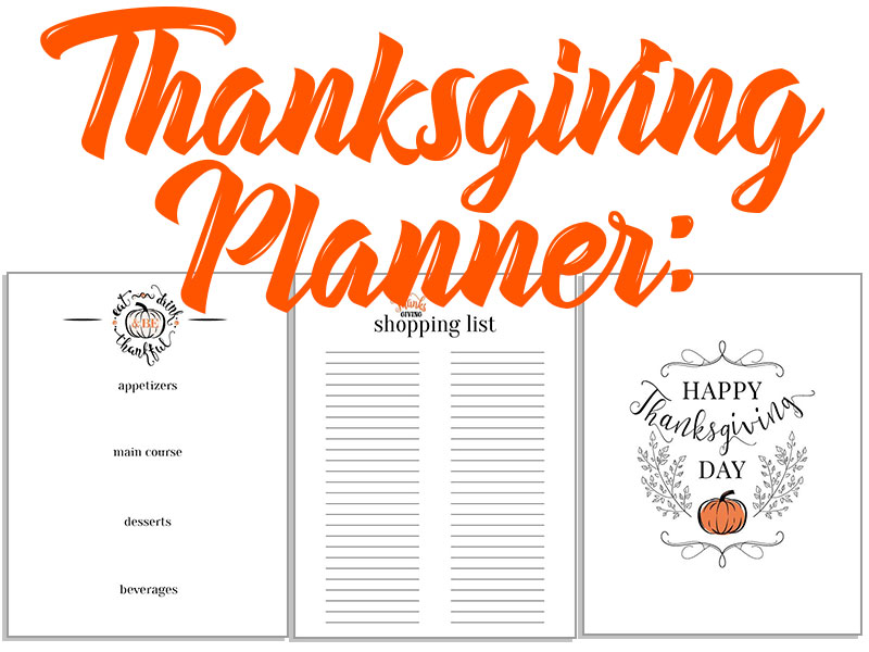 Thanksgiving Planner Menu, Shopping List and Decorative Printable