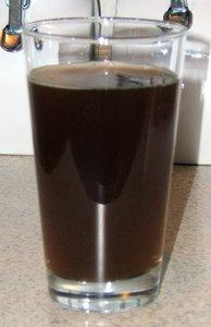 Homebrewed Belgian-style amber ale