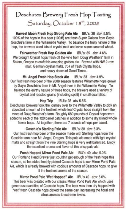 Deschutes Brewery Fresh Hop Tasting beer list