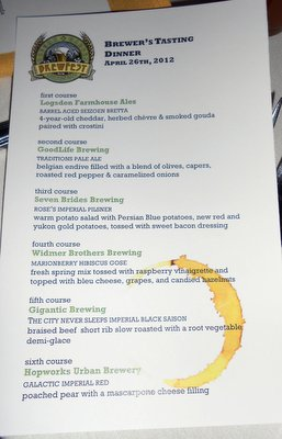 OGBF Brewer's Tasting Dinner menu