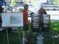 The Oregon Brew Crew brewing Random Hop Red at the Brewfest