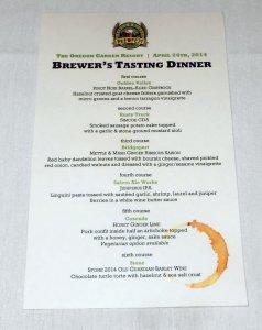 Oregon Garden Brewfest Brewer's Tasting Dinner menu