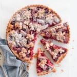 Rhubarb & Raspberry Frangipane Tart with Almond Praline
