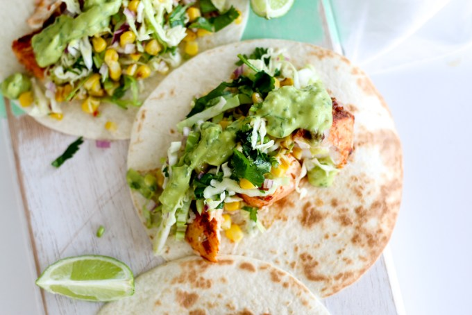 Spicy Fish Tacos with Grilled Corn Slaw and Avocado-Coriander-Lime Sauce- The Brick Kitchen