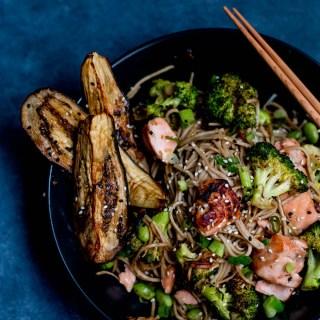 Miso Salmon, Eggplant & Soba Noodle Stirfry