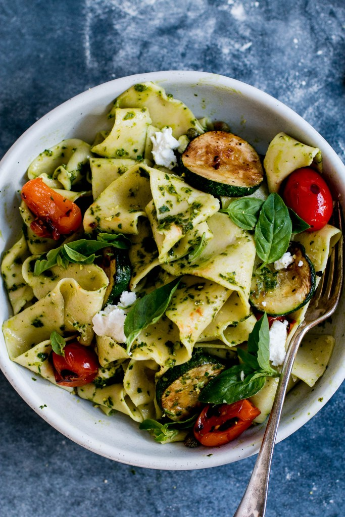 Pappardelle with Pesto, Zucchini & Goats Cheese - The Brick Kitchen