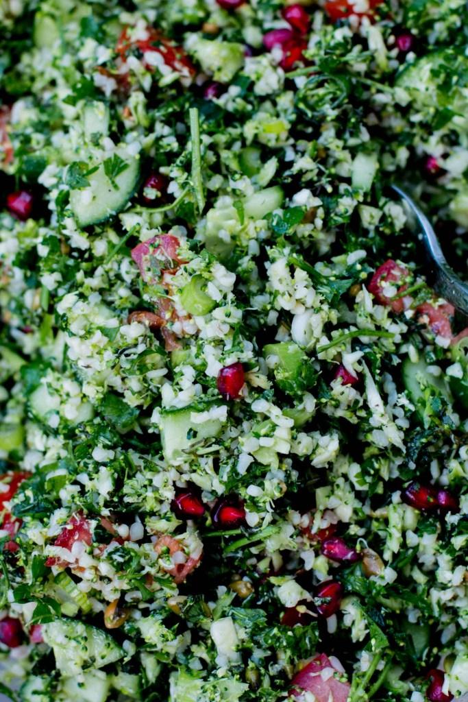 Raw Broccoli & Pomegranate Tabouli - The Brick Kitchen
