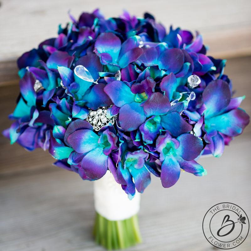Purple blue Galaxy orchid wedding bouquet \u2013 The Bridal Flower \u2013 silk