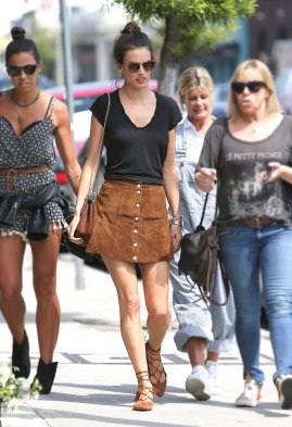 Image result for Alessandra Ambrosio brown skirt buttoned