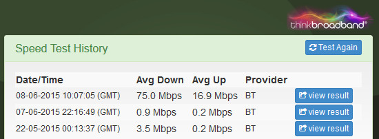 Before and after speed test