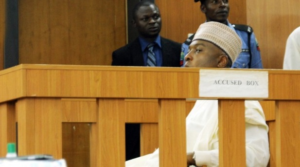 Senate president, Bukola Saraki inside accused box at CCT during his trial